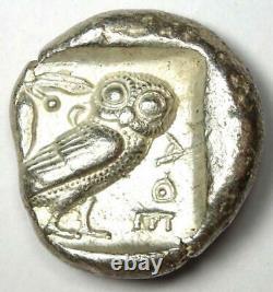 Athens Athena Owl Tetradrachm Coin (465-455 BC) XF Early Archaic Issue