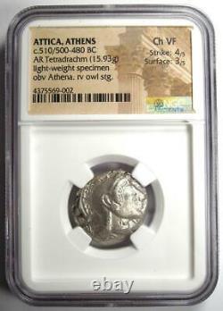 Athens Athena Owl Tetradrachm Coin (510-480 BC) NGC Choice VF Early Issue