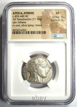 Athens Greece Athena Owl Tetradrachm Coin (455-440 BC) NGC XF Early Issue