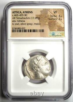 Athens Greece Athena Owl Tetradrachm Coin (465-455 BC) NGC VF Early Issue