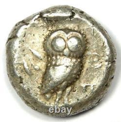 Athens Greece Athena Owl Tetradrachm Coin (510-480 BC) Fine / VF Early Issue