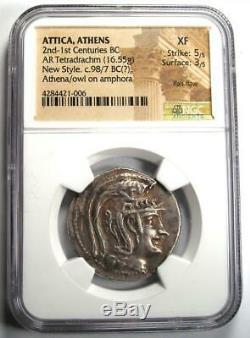Athens Greece Athena Owl Tetradrachm Coin (98 BC, New Style) Certified NGC XF