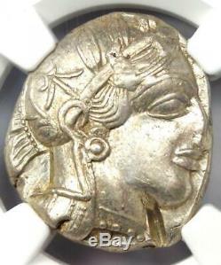 Athens Greece Athena Owl Tetradrachm Silver Coin (440-404 BC) NGC AU, Test Cut