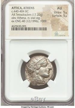 Athens NEAR PERFECT Athena & Owl 440-404 BC Tetradrachm NGC AU 5/5-5/5 001