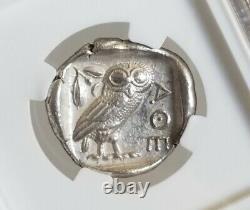 Attica, Athena Tetradrachm with Owl NGC AU Ancient Silver Coin nice crest