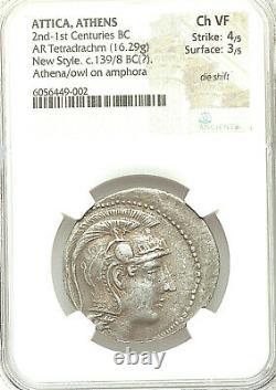 Attica, Athens AR Tetradrachm New Style Athena FULL CREST /Owl on amphora Ch VF