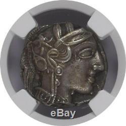 Attica Athens Athena Owl AR Tetradrachm 440-404 BC NGC Ancients Choice XF