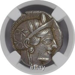 Attica Athens Athena Owl AR Tetradrachm 440-404 BC NGC Ancients XF