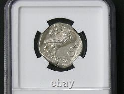 Attica, Athens Athena Owl Ar Silver Tetradrachm 440-404 Bc Ngc Ms-60