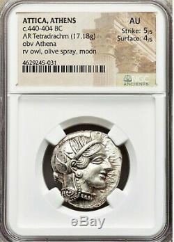 Attica Athens C. 440-404 BC AR Tetradrachm (OWL) 5/5 4/5 AU NGC #BCB12