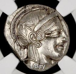 Attica Athens Greek Owl Silver AR Tetradrachm Coin (440-404 BC) NGC Ch AU 4+5