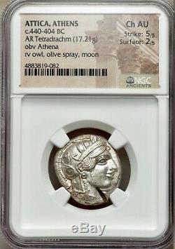 Attica Athens Greek Owl Silver AR Tetradrachm Coin 440 BC NGC Ch AU 5+2 test cut