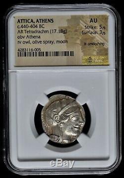 Attica Athens Greek Owl Silver Tetradrachm Coin (440-404 BC) NGC AU 5+3