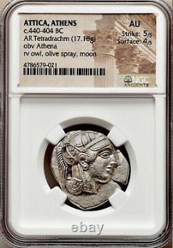 Attica Athens Greek Owl Silver Tetradrachm Coin (440-404 BC) NGC AU 5/5 4/5
