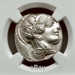 Attica Athens Greek Owl Silver Tetradrachm Coin (440-404 BC) NGC CH AU 4/5 5/5