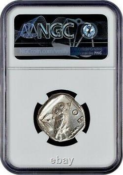 Attica Athens Greek Owl Silver Tetradrachm Coin (440-404 BC) NGC CH AU 5/5 2/5