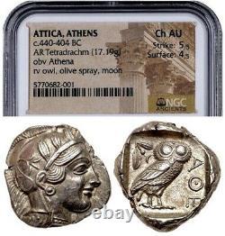 Attica Athens Greek Owl Silver Tetradrachm Coin (440-404 BC) NGC CH AU 5/5 4/5