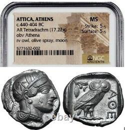 Attica Athens Greek Owl Silver Tetradrachm Coin (440-404 BC) NGC MS 5/5 5/5