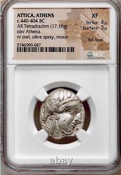 Attica Athens Greek Owl Silver Tetradrachm Coin (440-404 BC) NGC XF