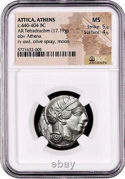 Attica Athens Greek Owl Silver Tetradrachm ancient coin (440-404 BC) NGC MS 5+4