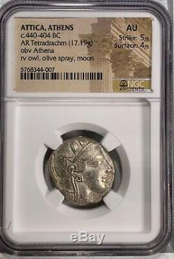 Attica, Athens NGC AU 5/5 4/5 AR Tetradrachm NEAR PERFECT AU COIN 116