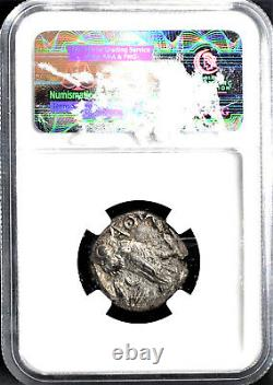 Attica, Athens, Silver Athena Tetradrachm, 393-294 Bc, Ngc Grade Au