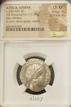 Attica, Athens Tetradrachm Owl NGC Choice XF Ancient Silver Athena Coin