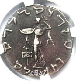 Bactria Indo-Greeks Apollodotus II AR Tetradrachm Silver Coin 80-65 BC NGC VF