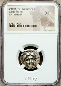 Caria Rhodes Greek AR Didrachm (1/2 Tetradrachm) 250BC coin Helios & Rose NGC XF