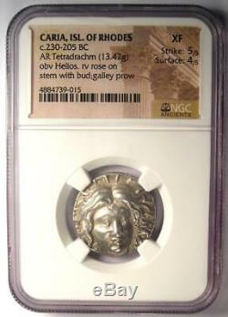 Caria Rhodes Greek AR Tetradrachm Coin Rose Helios 230-205 BC Certified NGC XF