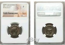 Egypt, Alexandria Nero Bl Tetradrachm NGC Fine Ancient Silver Coin