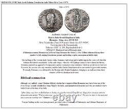 HERMAIOS 105BC Indo Greek Baktrian Tetradrachm India Mithra Silver Coin i45076
