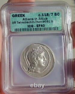 ICG Ancient Greek Coin Athens Owl New Style Silver tetradrachm 118 BC