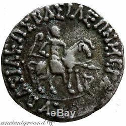 Indo Scythian Azilizes Silver Tetradrachm Coin 57-35 Bc