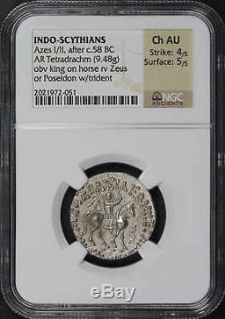 Indo-Scythians Azes I/II, after C. 58 BC AR Tetradrachm (9.48g) NGC CH AU