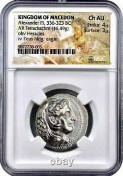 KINGDOM OF MACEDON Alexander the Great III AR Tetradrachm 336-323 BC NGC CH AU