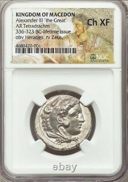 KINGDOM OF MACEDON Alexander the Great III AR Tetradrachm 336-323 BC NGC CH XF