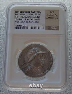 Kingdom Of Bactria GRECO-BACTRIAN Eucratides I c 170-145 BC Tetradrachm NGC AU