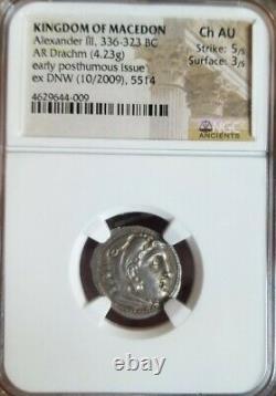 Kingdom Of Macedon Alexander III Drachm Choice AU 5/3 ancient silver coin