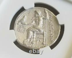 Kingdom Of Macedon Alexander III Tetradrachm NGC Choice AU Ancient Silver Coin