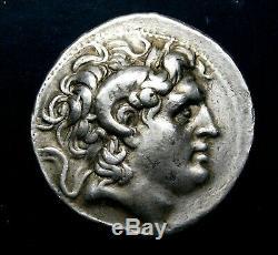 Lysimachos Tetradrachm. Stunning Portrait of Alexander the Great. Silver Coin