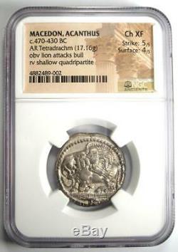 Macedon Acanthus Lion AR Tetradrachm Coin 470-430 BC Certified NGC AU Rare