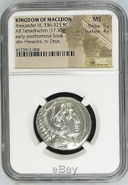 Macedon Alexander III the great (336-323 BC), Tetradrachm, NGC MS 5/5 4/5