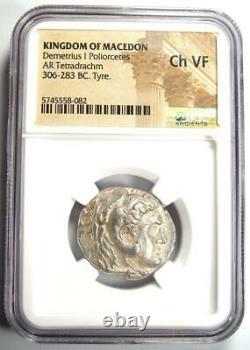 Macedon Demetrius I Poliorcetes AR Tetradrachm Coin 306-283 BC NGC Choice VF