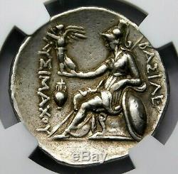 NGC Ch VF Lysimachus Tetradrachm. Portrait of Alexander the Great. Silver Coin