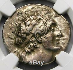 NGC Ch XF. Cleopatra III Ptolemy IX. Tetradrachm. Greek Silver Coin of Egypt