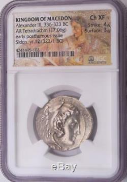 NGC Choice XF Ancient Alexander the Great Silver Tetradrachm Coin 4/5, 3/5
