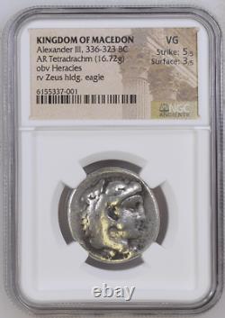 NGC Greek Tetradrachm, ALEXANDER THE GREAT, Herakles & Zeus, 4th Cent BC, V GOOD