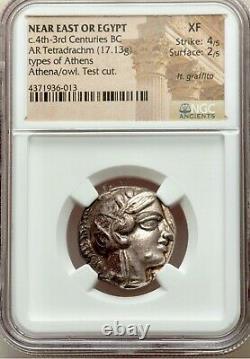 Near East, EGYPT, 4th centuries BC. AR (silver) Tetradrachm Athena & Owl NGC XF