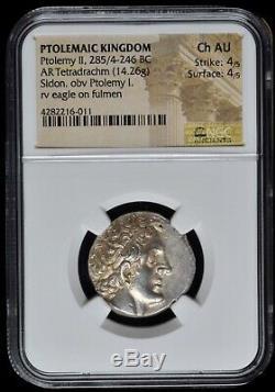 PTOLEMAIC KINGDOM Ptolemy II (285-246 BC) AR Tetradrachm NGC Ch AU ex CNG